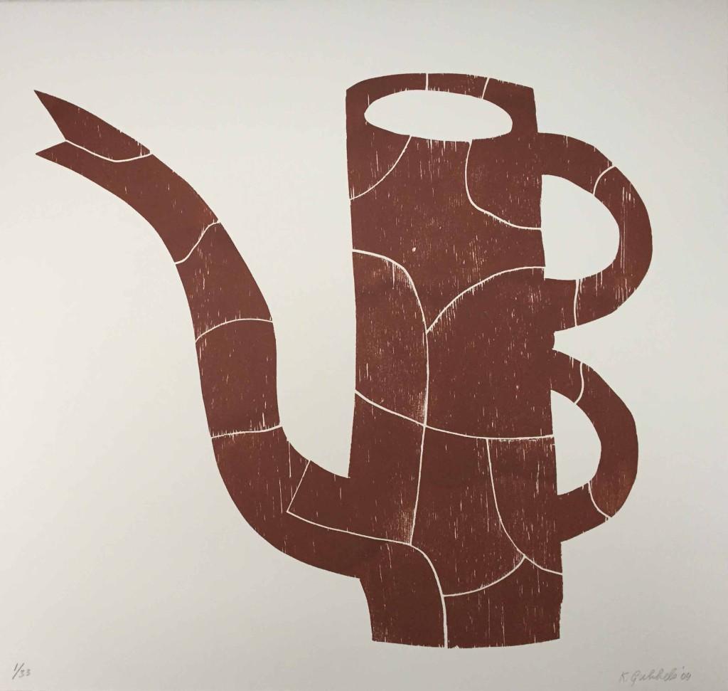 Klaas Gubbels puzzel kan 2004, 60x63 cm, houtdruk 1-33