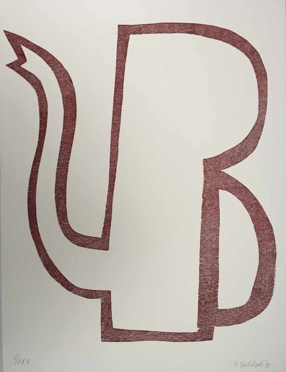 Klaas Gubbels zt 1991, 66x50 cm houtdruk X-XXV