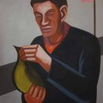 Wouter van Riesen, portret met platvis, 130x100 cm, olieverf op doek